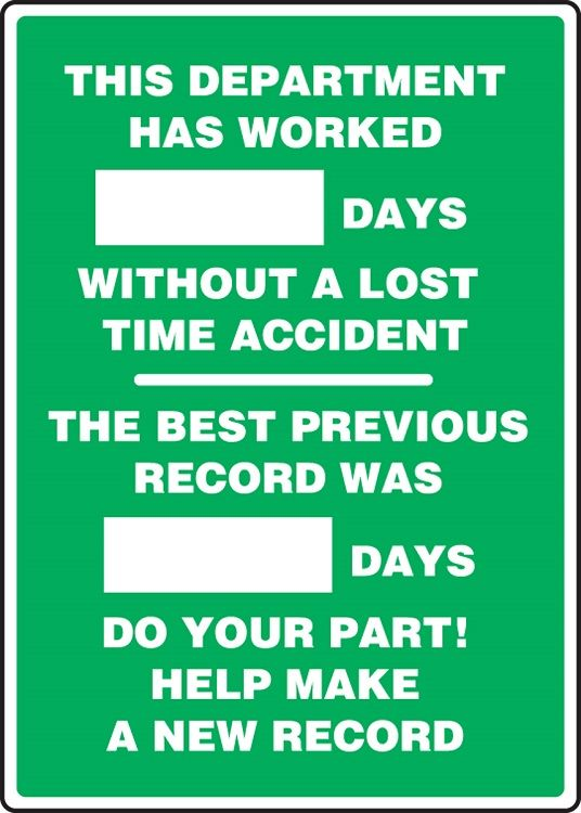 WRITE-A-DAY: _ Days Without .. Accident - The Best Previous Record Was _ Days