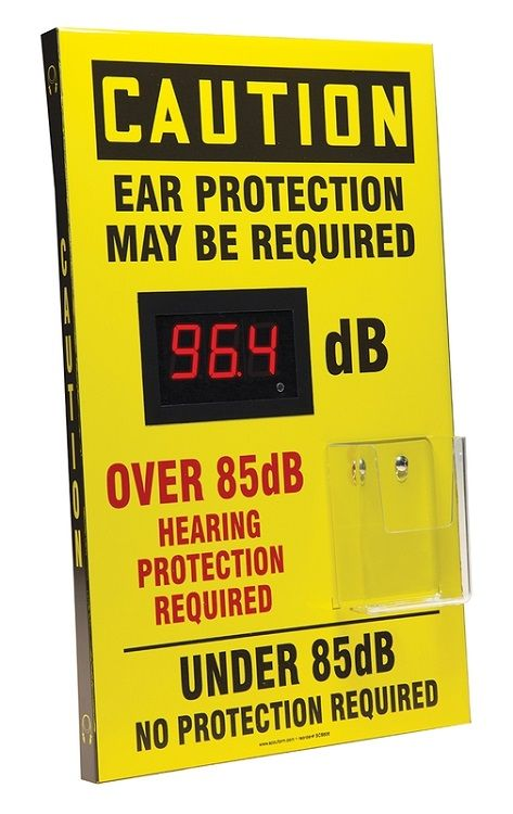 20 x 12 Caution Decibel Meter Sign - Ear Protection Required with Ear Plug Dispenser