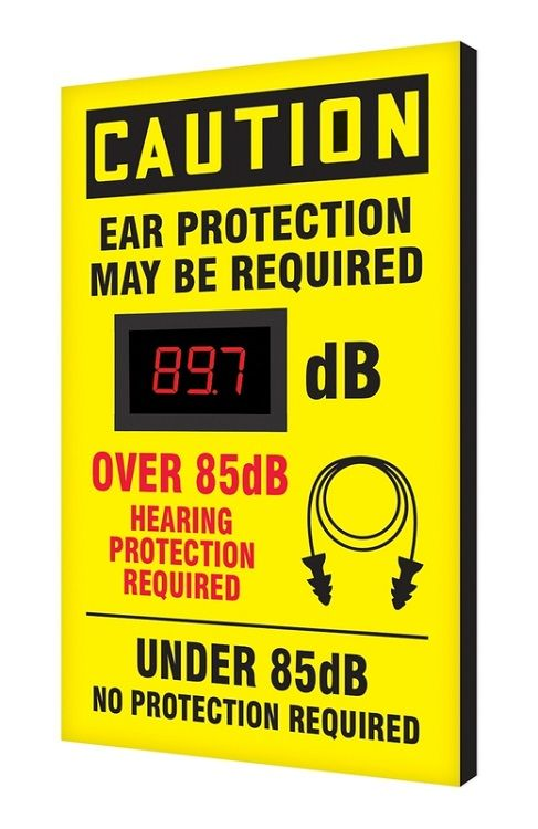 20 x 12 Caution Decibel Meter Sign - Ear Protection Required Over/Under