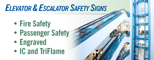 Elevator / Escalator - SSSCO Signs - In Case of Fire, Car Plates and more
