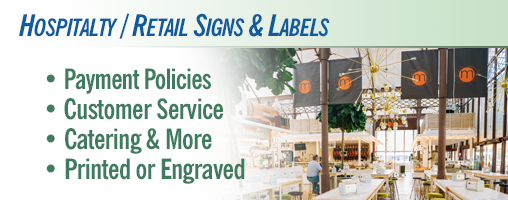 Hospitality and Retail Signs and Labels