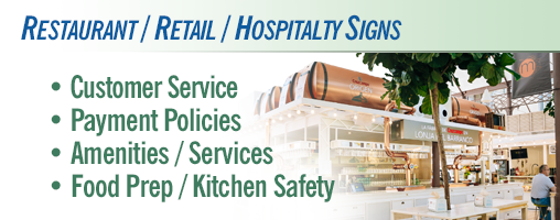 Restaurant / Retail / Hospitality Signs & Labels